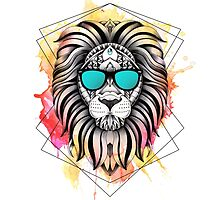 Ornate Watercolor Lion by psydrian