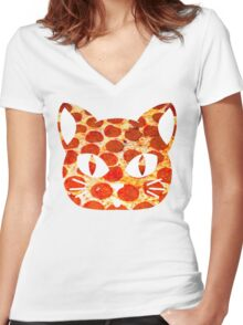 Pizza Cat Women's Fitted V-Neck T-Shirt