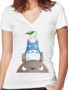 cute totoro  Women's Fitted V-Neck T-Shirt