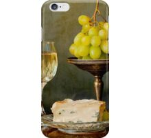 Gourmet snack, cheese grapes and white wine iPhone Case/Skin