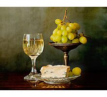 Gourmet snack, cheese grapes and white wine Photographic Print