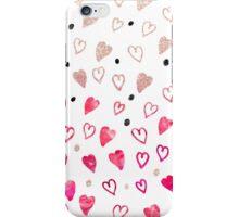 Modern hand drawn hearts pink glitter watercolor iPhone Case/Skin