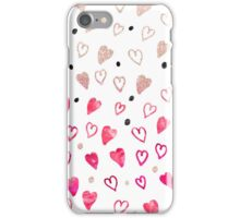Modern hand drawn hearts pink glitter watercolor iPhone Case/Skin