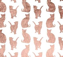 Trendy modern rose gold cats pattern by GirlyTrend