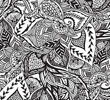 Black and white modern floral hand drawn pattern by GirlyTrend