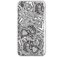 Black and white modern floral hand drawn pattern iPhone Case/Skin