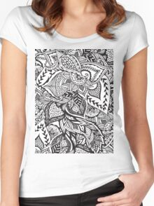 Black and white modern floral hand drawn pattern Women's Fitted Scoop T-Shirt