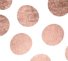 Modern faux rose gold hand drawn polka dots by GirlyTrend