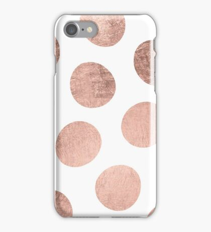 Modern faux rose gold hand drawn polka dots iPhone Case/Skin