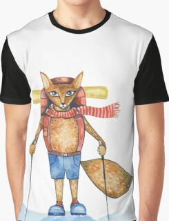 Cute hand drawn watercolor cartoon fox traveler on the top of the hill. Graphic T-Shirt