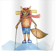 Cute hand drawn watercolor cartoon fox traveler on the top of the hill. Poster