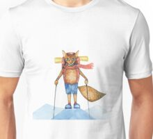 Cute hand drawn watercolor cartoon fox traveler on the top of the hill. Unisex T-Shirt