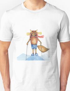 Cute hand drawn watercolor cartoon fox traveler on the top of the hill. T-Shirt