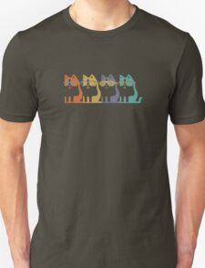 Colorful Cats In Glasses funny nerd geek geeky T-Shirt