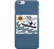 Stylized native in canoe design with waves and fish iPhone Case/Skin