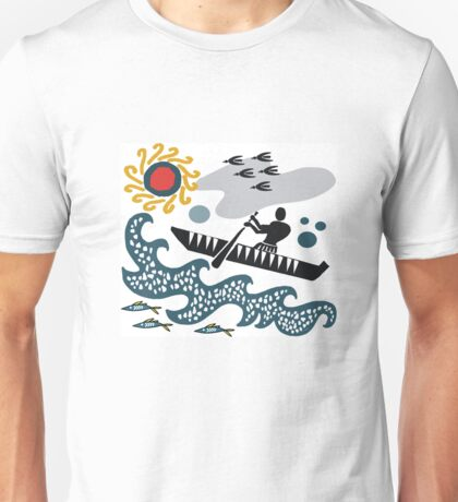 Stylized native in canoe design with waves and fish Unisex T-Shirt