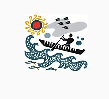 Stylized native in canoe design with waves and fish T-Shirt