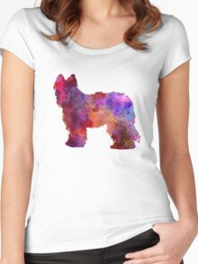 Briard in watercolor Women's Fitted Scoop T-Shirt