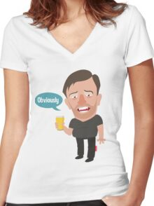 Ricky Gervais Women's Fitted V-Neck T-Shirt