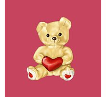 Pink Cute Teddy Bear Photographic Print