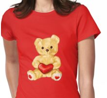 Pink Cute Teddy Bear Womens Fitted T-Shirt