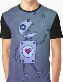 Happy Singing Robot Graphic T-Shirt
