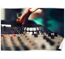 Club DJ playing mixing music on vinyl turntable Poster