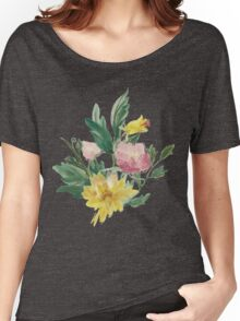 Vintage Watercolor Bouquet Yellow Pink Women's Relaxed Fit T-Shirt