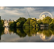 Sunlit Landmarks - St James's Park Lake Reflections in London UK Photographic Print