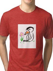 Penguin & flower Tri-blend T-Shirt