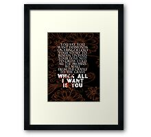 u2 all I want is you version 2 Framed Print