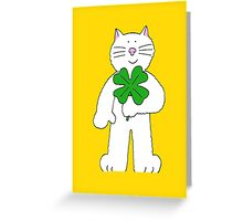 St, Patrick's Day cat with shamrock Greeting Card