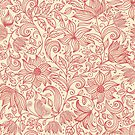 Floral pattern in doodle style in retro colors by Nataliia-Ku