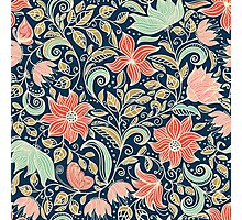 colorful floral pattern in doodle style  Photographic Print
