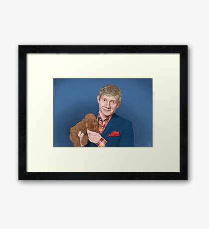 Martin Freeman with Puppy Framed Print