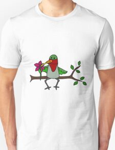 Cool Funny Hummingbird Sipping Nectar from Straw T-Shirt