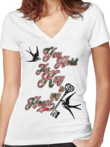 Key to my heart Dictionary Art Women's Fitted V-Neck T-Shirt
