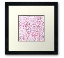 Pink floral pattern in doodle style Framed Print