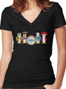 Sgt Poppers Penguin Marching Band Women's Fitted V-Neck T-Shirt