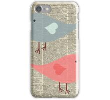 Cartoon Birds in love over encyclopedia page iPhone Case/Skin