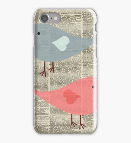 Cartoon Birds in love over encyclopedia page iPhone Case/Skin