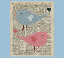 Cartoon Birds in love over encyclopedia page Kids Tee
