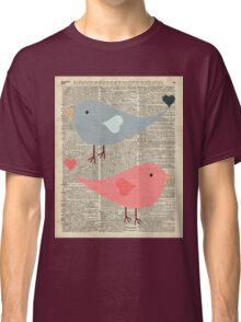 Cartoon Birds in love over encyclopedia page Classic T-Shirt