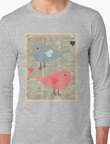 Cartoon Birds in love over encyclopedia page Long Sleeve T-Shirt