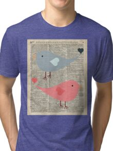 Cartoon Birds in love over encyclopedia page Tri-blend T-Shirt
