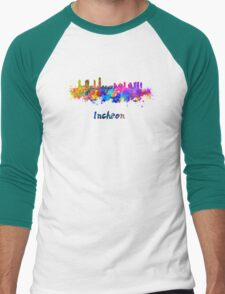 Incheon skyline in watercolor Men's Baseball ¾ T-Shirt
