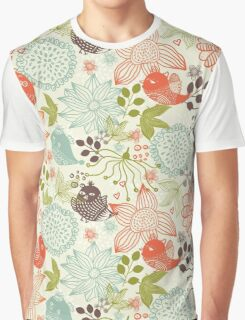 Doodle birds in flowers Graphic T-Shirt