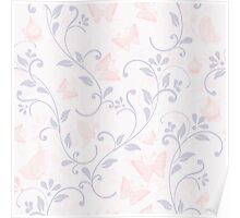 floral pattern in doodle style with butterflies Poster