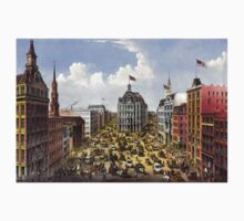 Broadway, New York From the western union telegraph building looking north - 1875 - Currier & Ives Kids Tee