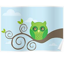 Green puppy OWL Poster